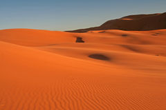 Erg Chebbi sand dunes. In the Sahara Desert near Hassi Labiad and Merzouga, Morocco. Algeria is located 20 km from here Royalty Free Stock Photos