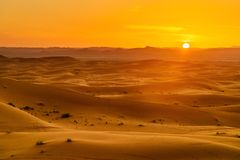 Erg Chebbi Sand dunes near Merzouga on sunset. Morocco Royalty Free Stock Image