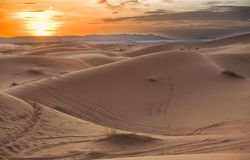 Erg Chebbi sunset. Erg Chebbi is one of Morocco's two Saharan ergs – large dunes formed by wind-blown sand –. The other is Erg Chigaga near M'hamid. Its Royalty Free Stock Photo