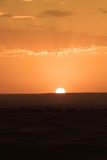 The dawn of a new day in the desert dunes of ERG in Morocco royalty free stock photo