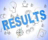 Ergebnis-Wort zeigt Konsequenz-Bericht und Ergebnis stock abbildung