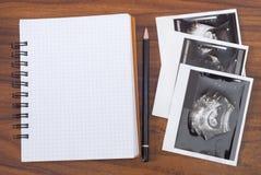 Ergebnisse der Ultraschalluntersuchung und des Notizbuches Lizenzfreie Stockfotos