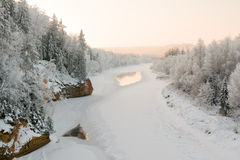 Ergelu rock in winter. Near Cesis town and river Gauja Stock Image
