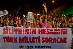 Ergenekon Conspiracy Protest. People protest sentencing in Ergenekon conspiracy on August 05, 2013 in Istanbul, Turkey. People walk from Kadikoy to Goztepe Park Stock Photography
