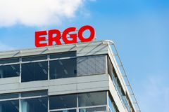 Ergo group from German Munich re insurance companies logo on building of the Czech headquarters Royalty Free Stock Images