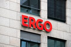 Ergo logo on a facade. ERGO is a group of insurance companies owned by Munich Re and one of the largest insurance groups in Europe