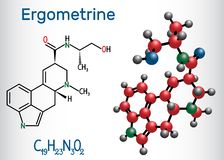 Ergometrine drug molecule. Structural chemical formula and molecule model stock illustration