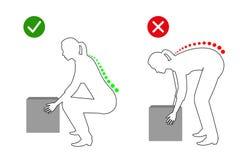 Ergonómico - postura correcta de una mujer para levantar un dibujo lineal del objeto pesado stock de ilustración