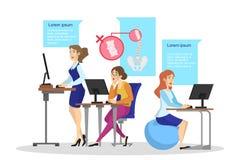 Ergonomía del concepto del lugar de trabajo Postura del cuerpo para la parte posterior stock de ilustración