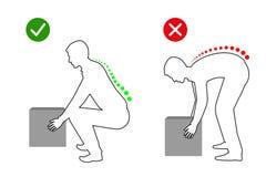 Ergonomía - dibujo lineal de la postura correcta para levantar un objeto pesado ilustración del vector
