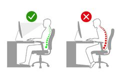 Ergonomía en la posición sentada correcta del hombre del lugar de trabajo blanco y negro libre illustration