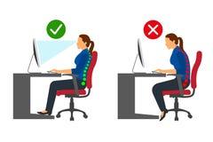 Ergonomía - posición sentada correcta e incorrecta de la mujer al usar un ordenador ilustración del vector