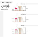 Ergonomic combination of various chair and table height. Vector illustration set isolated on white. Stock Photography