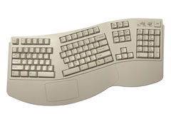 Ergonomic computer keyboard. Isolated on white with clipping path Stock Images