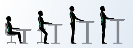 Ergonomic. Height adjustable desk or table poses Stock Photo