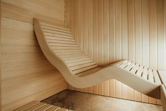 Ergonomic lounger in sauna. Designed from individual project royalty free stock photos