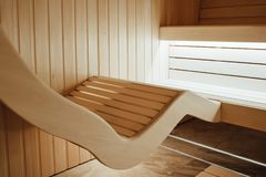 Ergonomic lounger in sauna. Designed from individual project stock images