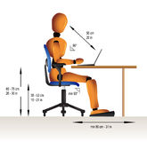 Ergonomic sitting. Instruction on how to sit correctly when working in order to avoid diverse health problems Stock Image