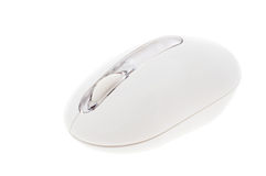 Ergonomic white mouse. Close up studio shot of ergonomic white mouse, isolated on white Royalty Free Stock Photo