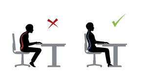 Ergonomic. Wrong and correct sitting pose. Of a man near the table vector illustration