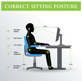 Ergonomics. Correct sitting posture Royalty Free Stock Photo