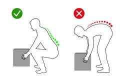 Ergonomics - line drawing of correct posture to lift a heavy object. Man lifting object vector illustration