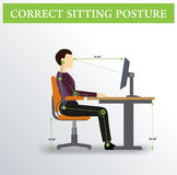 ergonomics Poprawna siedząca postura Fotografia Stock