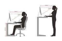 Ergonomics sylwetka kobiety poprawny obsiadanie i pozycja pozujemy gdy używać komputer ilustracji