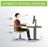 ergonomie Korrekte Sitzenlage Stockfotos