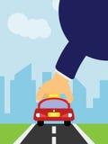Ergreifen Sie ein Taxi, um Illustration zu bearbeiten Lizenzfreies Stockfoto