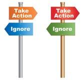 Ergreifen Sie Maßnahmen ignorieren Stockbild