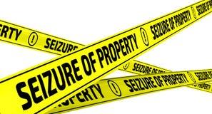 Ergreifung des Eigentums Gelbe warnende Bänder Lizenzfreie Stockbilder