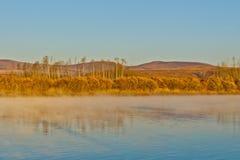 Ergun rzeka przy opóźnionym jesień rankiem Fotografia Royalty Free