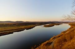 Ergun rzeka przy zmierzchem Obrazy Stock