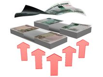 Erhöhen Sie russisches Geld Stockfoto