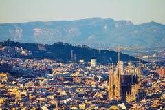 Erhöhte Ansicht des Sagrada-familia stockfotos
