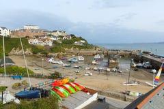 Erhöhte Ansicht von Newquay-Hafen Nord-Cornwall England Großbritannien Lizenzfreies Stockbild