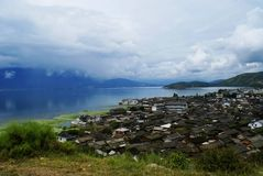 Erhai lake and village. Erhai region in ancient times was the birthplace of Bai Nationality of Yunan Royalty Free Stock Photo
