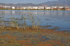 Erhai sjö i Yunnan, Œand för ¼ för Kina fiskebåtpeopleï bostads- sjö Arkivfoton