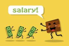 Erhalten eines Gehaltsschecks und der Freude Stockbild