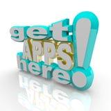 Erhalten Sie Apps hier - Anwendungs-Markt Stockbild