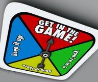 Erhalten Sie in The Game, das Spinner Gewinn-Wettbewerb eingehen Risiko konkurrieren Stockfoto