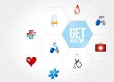 erhalten Sie gesunde medizinische Diagrammnetzillustration Lizenzfreies Stockbild