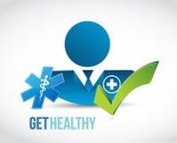 erhalten Sie gesunder Doktor genehmigtes Zeichen Lizenzfreie Stockfotografie