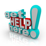 Erhalten Sie Hilfen-hier - Kundenbetreuung-Lösungen Stockfotos