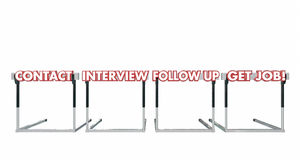 Erhalten Sie Job Contact Interview Follow Up Hürden Lizenzfreie Stockfotos