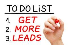 Erhalten Sie mehr Führungen, um Listen-Konzept zu tun stockfotos