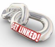Erhalten Sie verbundenem 3d rote Wort-Kettenglieder verbundenes Netz Lizenzfreies Stockfoto