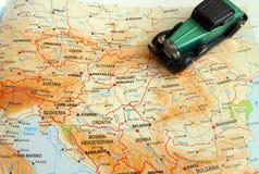 Über dem Land, das Reise durch Europa-Konzept fährt lizenzfreies stockbild