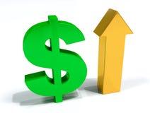 Erhöhen Sie Dollar 3D Stockbild